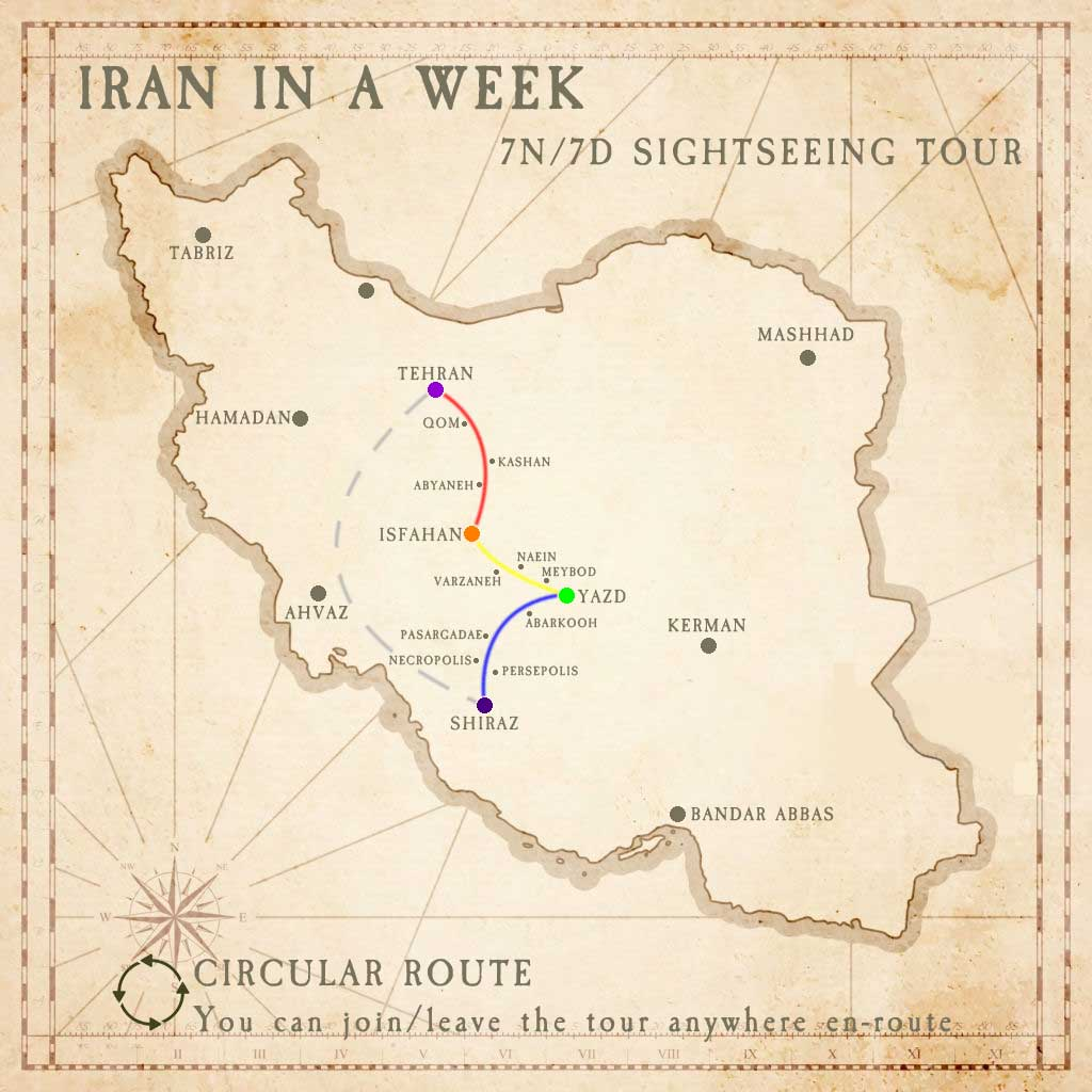Iran in a Week Tour Map